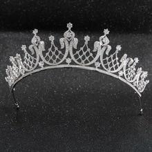 קלאסי גבישי CZ מעוקב Zirconia חתונת כלה מלכותי נזר נזר כתר נשים לנשף שיער תכשיטי אביזרי CH10252