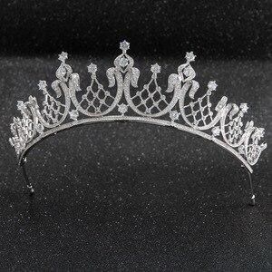 Image 1 - קלאסי גבישי CZ מעוקב Zirconia חתונת כלה מלכותי נזר נזר כתר נשים לנשף שיער תכשיטי אביזרי CH10252