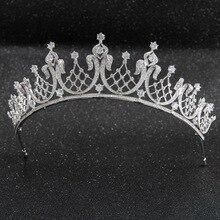 Klassische Kristalle CZ Zirkonia Hochzeit Braut Königliche Tiara Diadem Krone Frauen Prom Haar Schmuck Zubehör CH10252