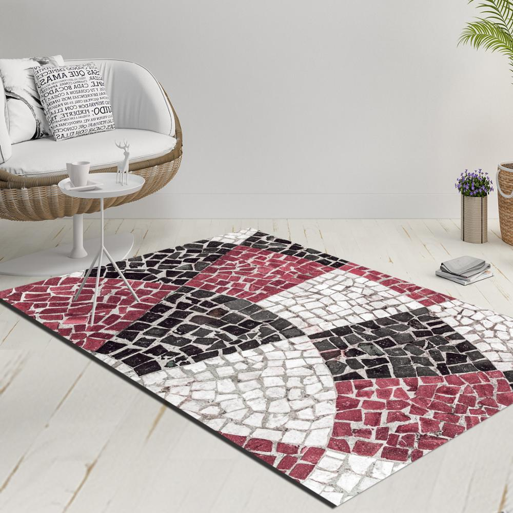 Else Purple Black White Mosaic Pebble Stone Decorative 3d Print Anti Slip Kilim Washable Decorative Kilim Rug Modern Carpet