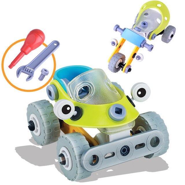 YETAA Assembléia Removível Kid Puzzle Carro Brinquedo Construtor Motocicletas Educação DIY Brinquedos de Montagem do Parafuso de Plástico Para Crianças