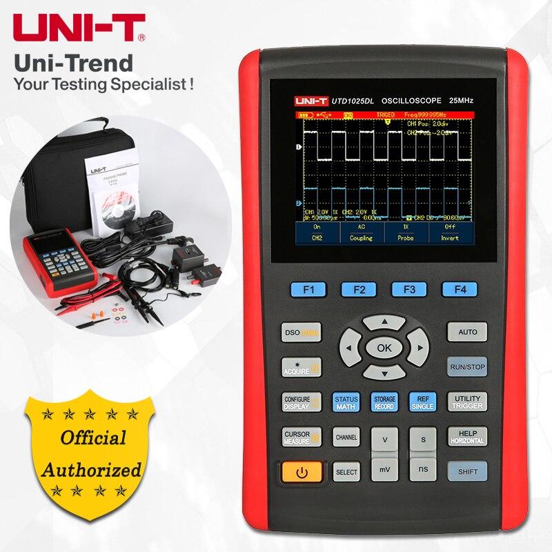 UNI-T UTD1025DL Palmare Oscilloscopio a memoria Digitale; 2 Canali, 25 mhz di Larghezza di Banda, 250 ms/s frequenza di Campionamento