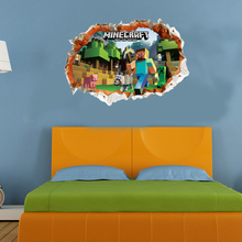 Newest 3D Minecraft Wall Stickers For Kids Rooms Art Mural Minecraft Steve Poster Home Decor Popular Games Wallpaper Wall Decals