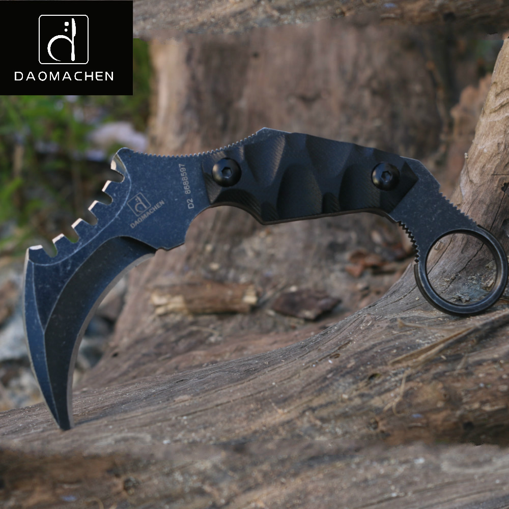 2017Outdoors Tactical Karambit Knife Camping Survival Hunting Claw Knives Multi Purpose Tools D2 Blade Huntsman Knives as a gift cs go counter strike top tools karambit fixed blade knife self defense camping outdoor survival knife free shipping damask tools