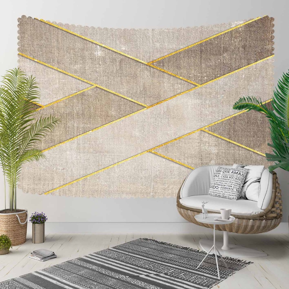 Else Beige Brown Vintage Golden Yellow Lines Modern 3D Print Decorative Hippi Bohemian Wall Hanging Landscape Tapestry Wall Art