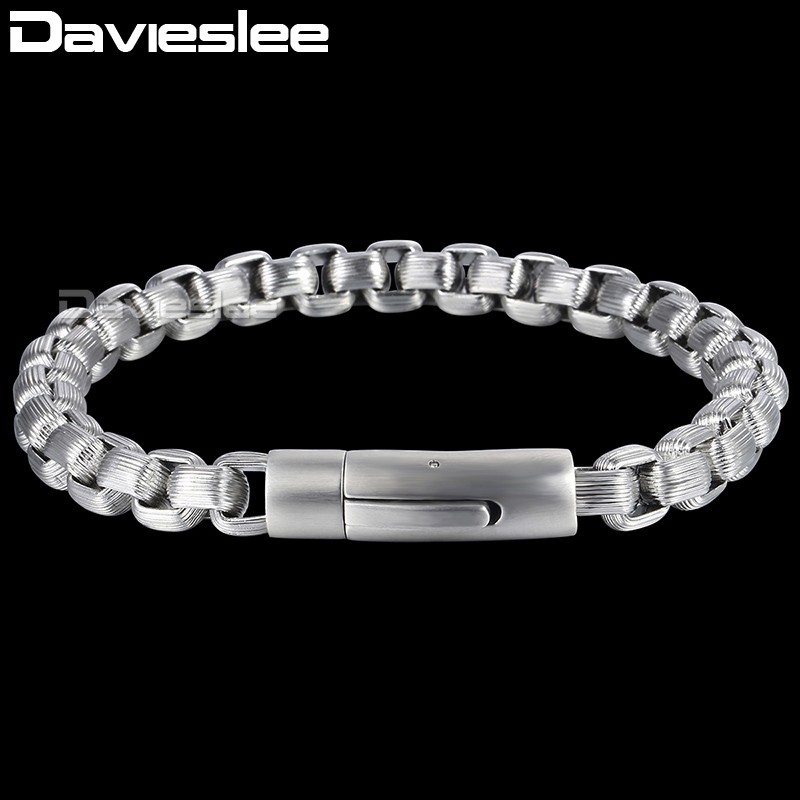 Davieslee Square Box Link Mens Bracelet Customize Stainless Steel Chain Gold Silver Black Tone 13mm DKBM154 davieslee fashion mens man made leather bracelet stainless steel box link knot charm wristband 13mm dhb496