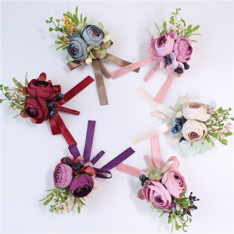 Lovegrace 15 Colors Artificial Mini Rose Bridesmaid Wrist Corsages Groom Boutonnieres Flower Wedding Bride Pins Bracelets Supply