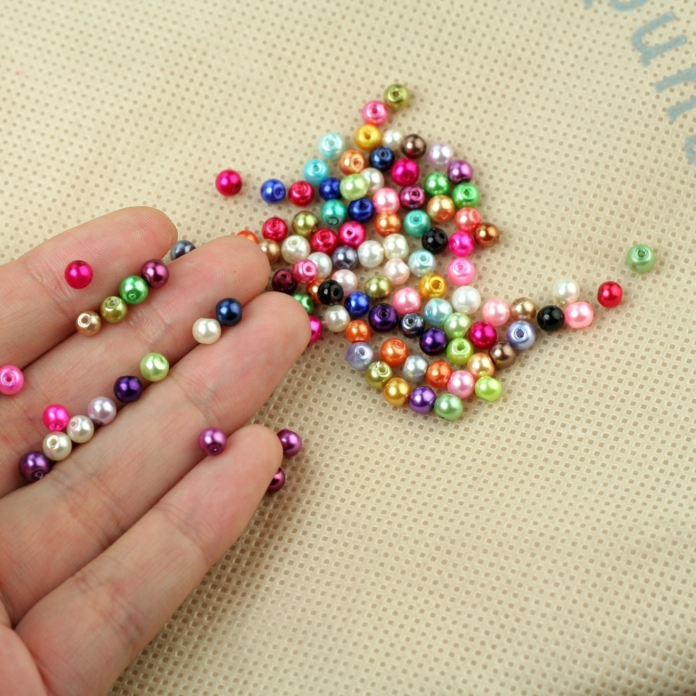 Wholesale Jewelry Beads 500pcs 4mm Mixed Colour Round Glass Pearl Loose Beads Spacer DIY Jewelry Components Accessories