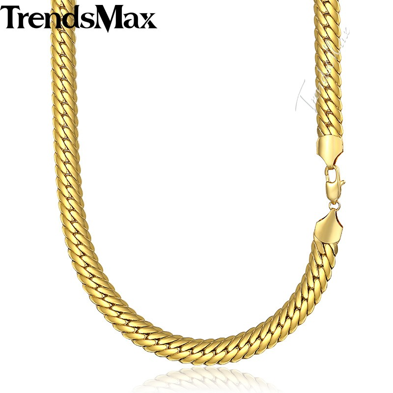 MENS 18K Gold Filled Plated Herringbone Necklace Snake Chain GN60