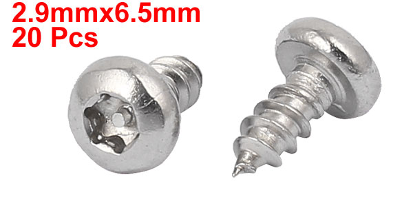 UXCELL 2.9Mmx6.5Mm Thread 304 Stainless Steel Pan Head Star Drive Self Tapping Screw 20Pcs