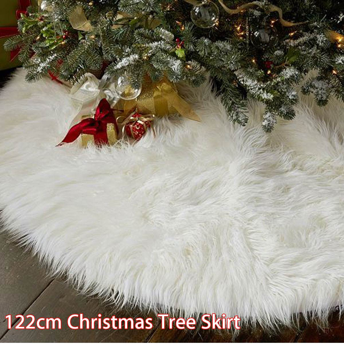 aliexpresscom buy 122cm plush white snowflake christmas tree skirt base floor mat cover round rug christmas decorations for home ornaments navidad from - Fur Christmas Tree Skirt