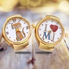 Lady Girl Golden Tone Round Elastic Alloy Quartz Watches Creative Finger Ring Watch alloy plating gold rhinestone finger ring golden