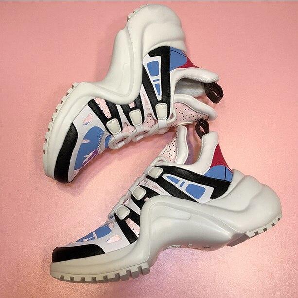 YS 920042 Platform 6CM Sneakers Geen Logo Sport Running Casual Schoenen Echte Koe Lederen Schapenvacht Binnenzool vrouwen Vulcaniseer schoenen