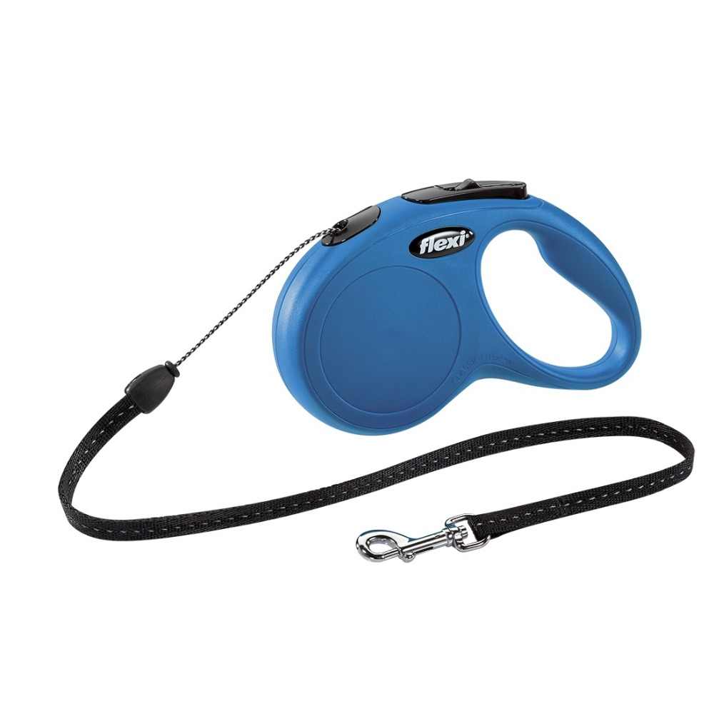 Lead tape measure Flexi for dogs New Classic S (up to 12 kg), cord, 5 m, blue.  Dog Accessories buttoned up cord skirt