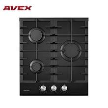 Встраиваемая варочная панель AVEX  HM 4531 B, ширина 45 см, 3 газовых конфорки, чугунные решетки, автоматический электро-поджиг, поверхность - черное закаленное стекло