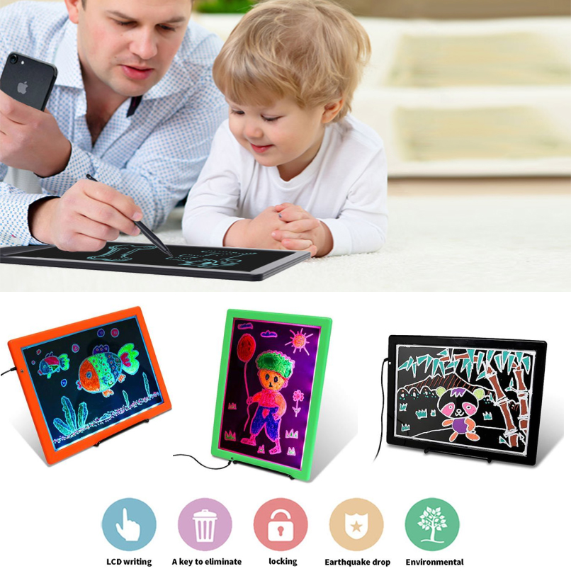 Cobee Portable Ultra Thin Drawing Pad Writing Board Large Screen LED Light Painting Children Early Education