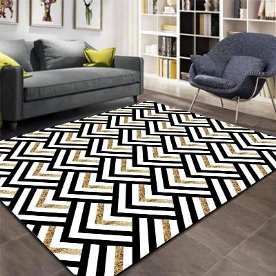 autre noir gris jaune lignes de biais geometrique impression 3d antiderapant microfibre salon decoratif moderne lavable zone tapis