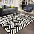 Sonst Schwarz Grau Gelb Bias Linien Geometrische 3d Print Non Slip Mikrofaser Wohnzimmer Dekorative Moderne Waschbar Bereich Teppich Matte