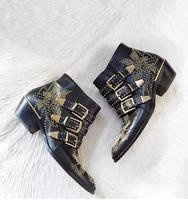 Hot Selling Black Leather Studded Boots Round Toe Gold Buckle Straps Thick Heel Ankle Boots Women Round Toe Winter Ridding Boots