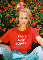 100 NOT TODAY T Shirt Red Cherry Vintage Tee Women Funny Tumblr Graphic Tees