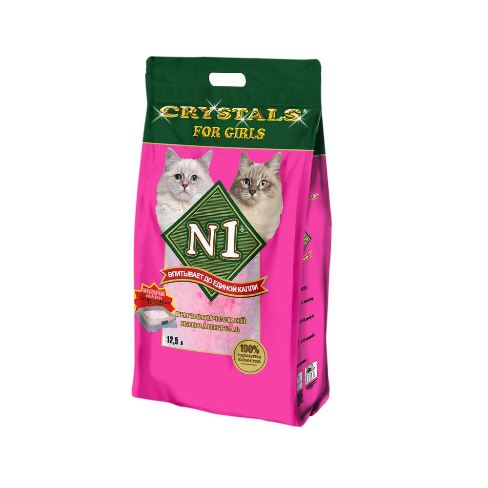 N1 Crystals for girls silica gel cat litter, 12.5 L. silica gel cake scraper 3pcs