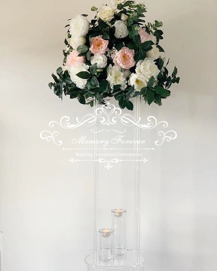 Wedding Flower Pillars: Rustic Wedding Centerpiece Table Flower Stand Clear
