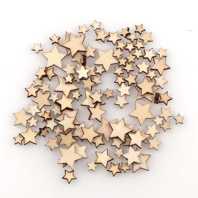 100Pcs DIY Size Mixing Pentagram Wood Chips Decorative Embellishments Crafts Scrapbooking Supplies Hand-made Graffiti Buttons