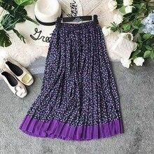 NiceMix Elegant Women Long Skirt 2019 Summer Bohemian Beach Print Chiffon Korean Elastic High Waist Casual A-line Pleated