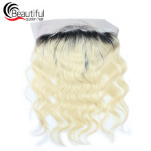 Beautiful Queen Brazilian Human Hair Body Wave Lace Frontal 13x4 1B/613 Blonde Free Part Virgin Hair 130 Density For Women 10-20(China)