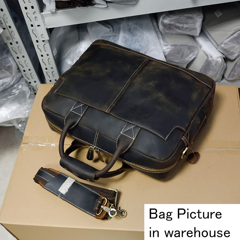 Genuine leather Men Briefcase 16 Big Capacity Business Laptop Bag Vintage Crazy Horse Leather Work tote
