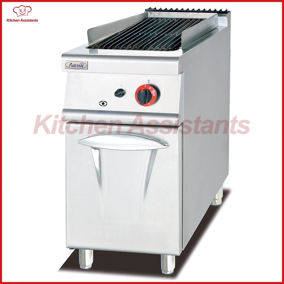 GH979 gas lava rock grill with cabinet of kitchen equipment