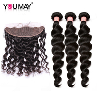 Loose Wave Brazilian Virgin Human Hair Bundles With Frontal Closure Pre Plucked Lace Frontal With 3 Bundles Deals You May