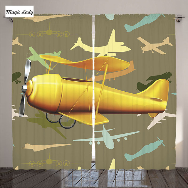 Curtains Window Children Living Room Bedroom Helicopters Planes Transportation Art Clouds High Sky Brown Yellow 290x265 cm home