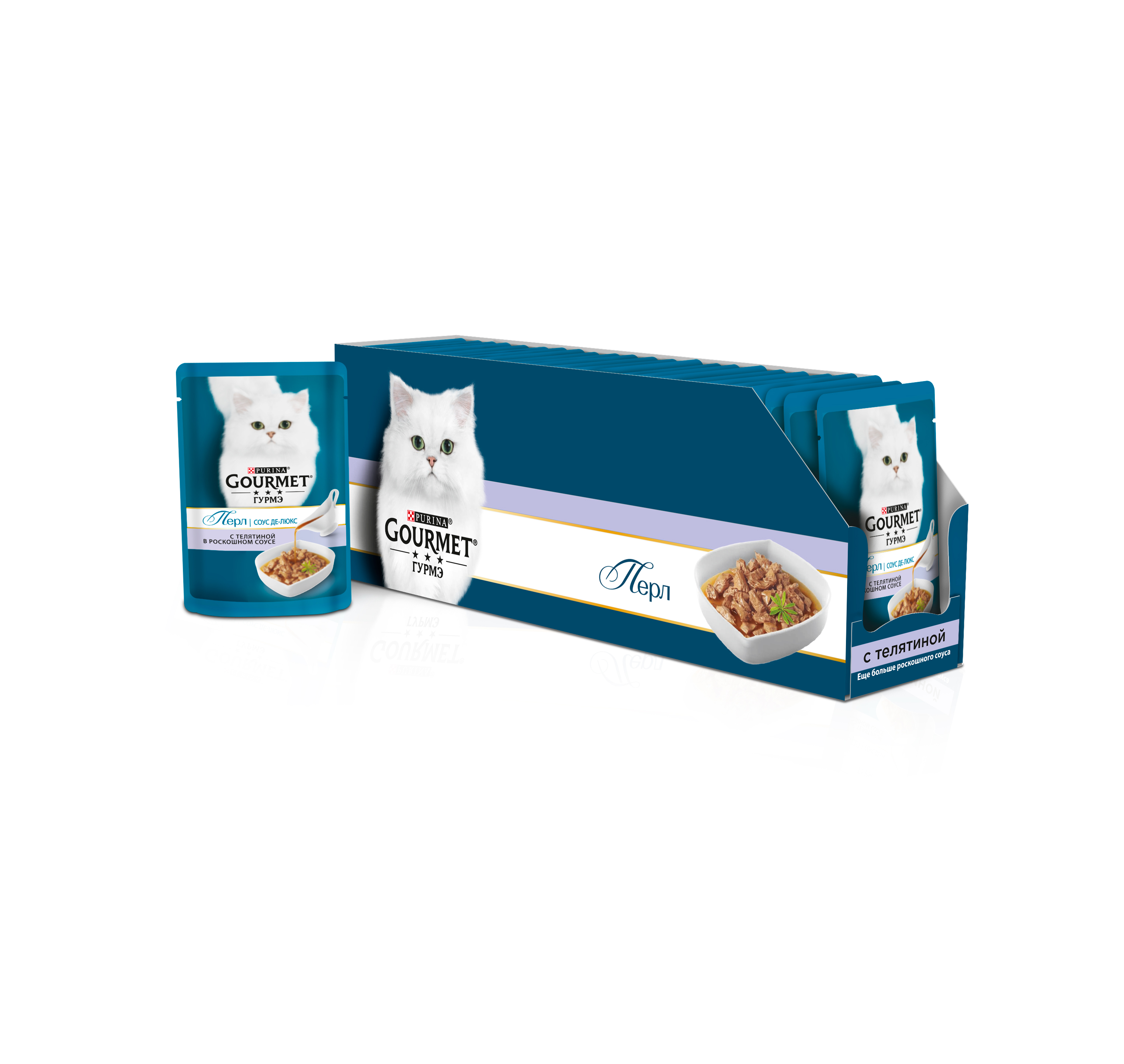 цены на Wet food Gourmet Pearl Sauce Deluxe for cats with veal in a luxurious sauce, 24 pouch x 85 g  в интернет-магазинах