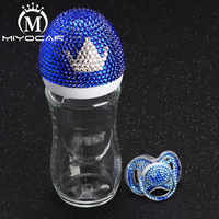 MIYOCAR Красивая стеклянная бутылочка для кормления, безопасная ручная работа, 240 мл, с блестящей короной, соска для душа, подарок для ребенка