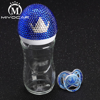 MIYOCAR beautiful set of handmade safe glass Feeding Bottle 240 ml and bling crown pacifier for baby shower gift