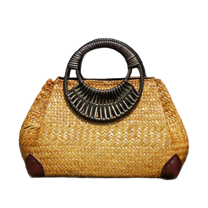 Women Straw Bags Female Bamboo Summer Beach Weave Handbag Lady Handmade Vintage Wood Handle Bag Travel Knitted Totes Bags SS3144Women Straw Bags Female Bamboo Summer Beach Weave Handbag Lady Handmade Vintage Wood Handle Bag Travel Knitted Totes Bags SS3144