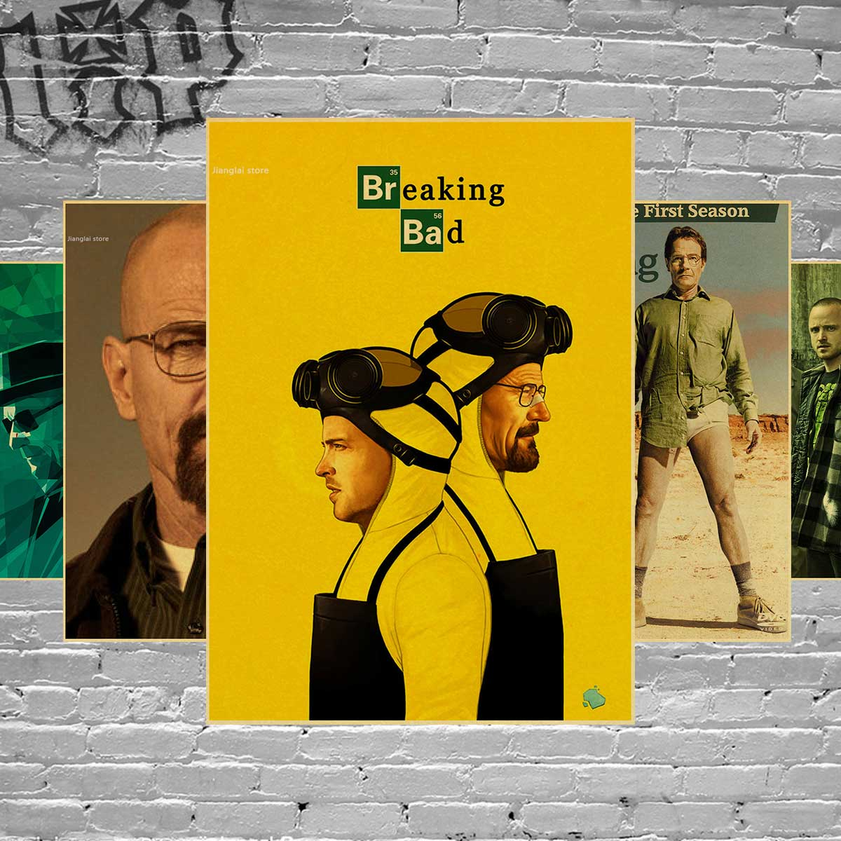 Wall stickers home decor Wall poster Breaking Bad vintage poster retro Walter White posters american TV series-in Wall Stickers from Home & Garden