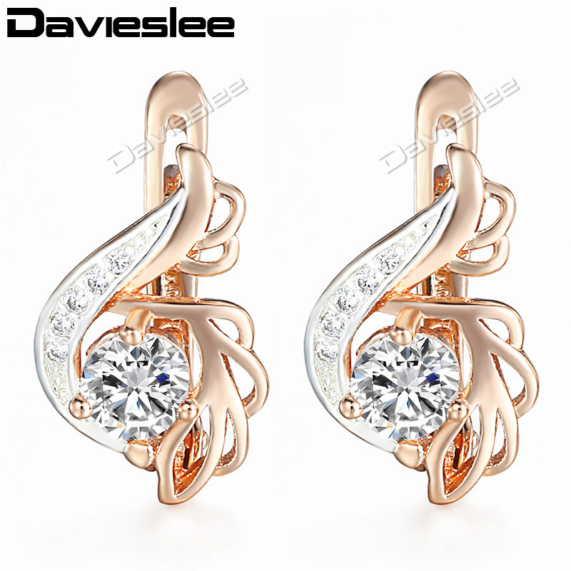 Davieslee Round Clear CZ Dangle Earrings for Women Cubic Zirconia 585 White Rose Gold Filled DGE104