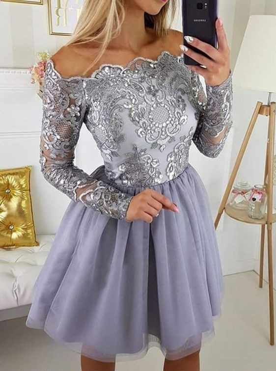 953b6e7f787b2 Cute A Line Navy Blue Graduation Prom Dresses Party Dress 2019 Short Tulle  Skirt Long Sleeves Lace Homecoming Dresses