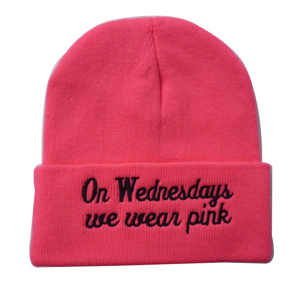 купить New Style Autumn Winter Spring Europe On Wednesdays Wear Pink Embroidered Wool Knit Pink Hat Hedging 3 Colors Warm Hat недорого