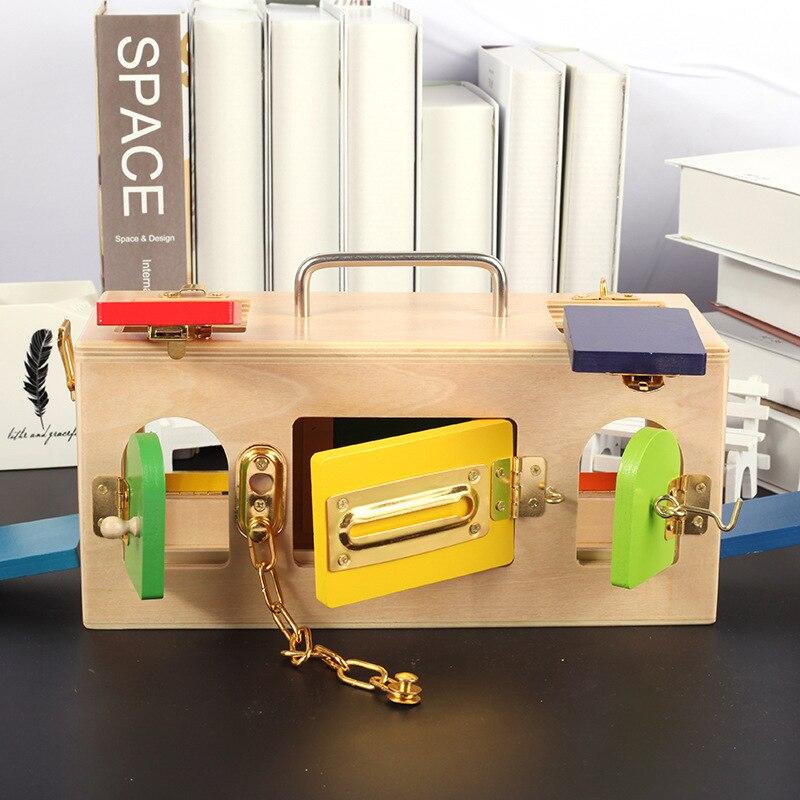 Montessori éducatif coloré en bois serrure boîte bambin préscolaire formation jouets pour enfants Brinquedo Juguete éducation - 3