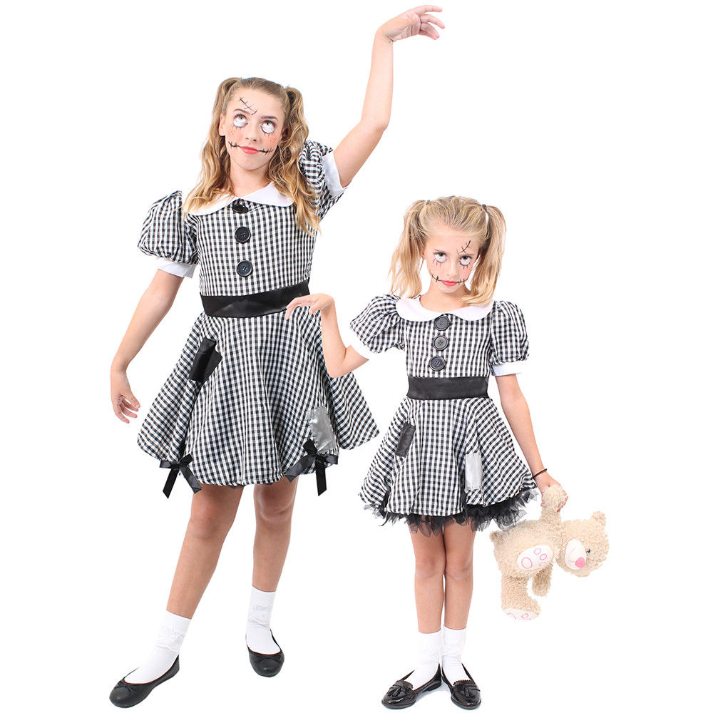 LADIES BROKEN DOLL COSTUME ADULT HALLOWEEN HORROR FANCY DRESS OUTFIT