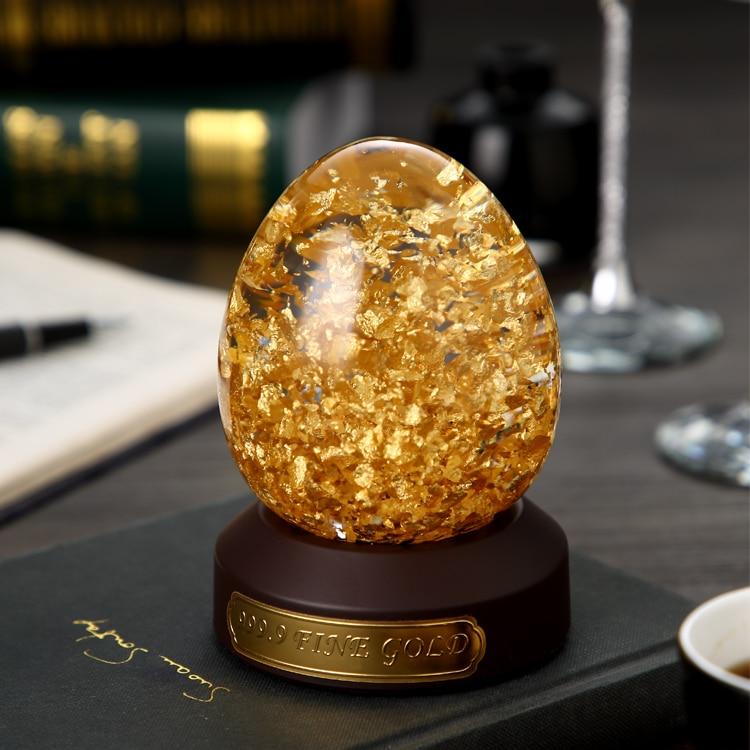 24 K Oro Fiocchi di Forma di Uovo Globo di Neve Fortunato Uovo D'oro Con Scatola Regalo Arredamento Best Regalo Taiwan Fatto