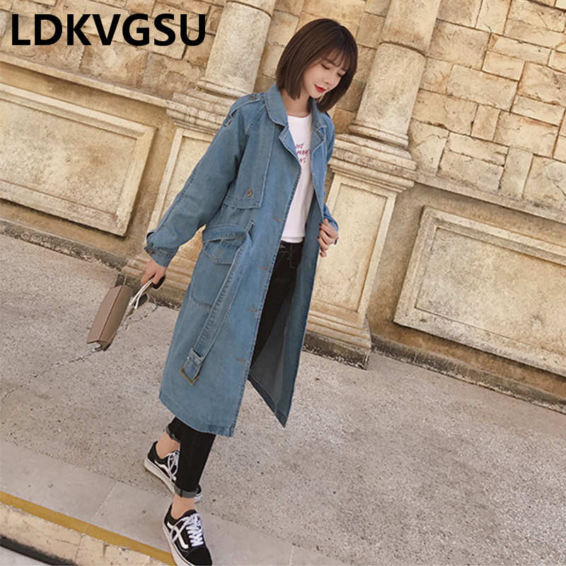 2018 Spring Autumn Women New Korean Single-breasted Washed Denim   Trench   Coat Female Adjustable Waist Long Jeans Coat Is111