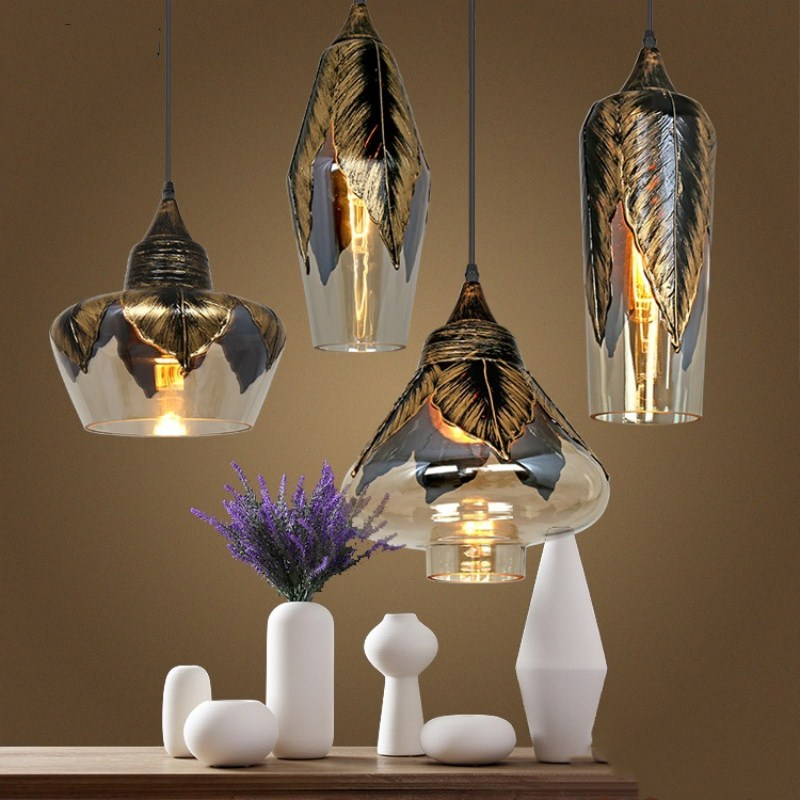 Northern Europe Retro Concise Leaves Glass Pendant Light Cafe Bar Restaurant Bedroom Livingroom Decoration Lamp Free Shipping creative retro northern europe concise iron pendant lamp cafe bar restaurant bedroom livingroom decoration lamp free shipping