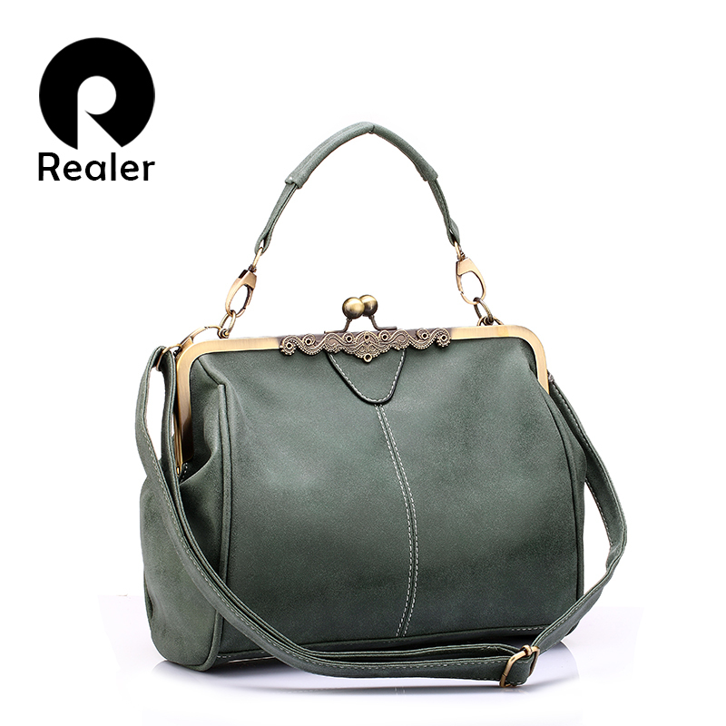 REALER women bag retro messenger bags small shoulder crossbody bag high quality PU leather totes female clutch handbags ladies 2016 new women leather handbags fashion shoulder bag high quali women s messenger bags ladies crossbody bag clutch wallet 2 sets