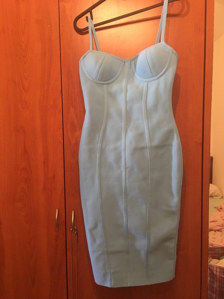 Ocstrade Women Dress Bandage Arrivals Summer Sexy Light Blue Spaghetti Strap Rayon Bandage Dress Bodycon Party Dress photo review