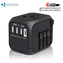 Wearpai International Power Adapter Universal Travel Adapter with 3.4A 4USB Power Adapter Wall Charger for UK, EU, AU, Asia