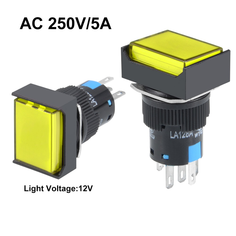UXCELL 2Pcs Switches 16mm Momentary Push Button Switch Yellow LED Light Square Button 1 NO 1 NC Light 12V Electrical Equipment in Switches from Lights Lighting